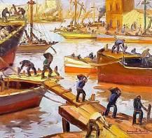 Hombres trabajando en el puerto a pleno sol, Barrio de La Boca.