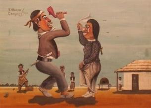 Obra de Molina Campos donde se observa a un Gaucho y una China bailando una danza folklorica con el ranchito de fondo.