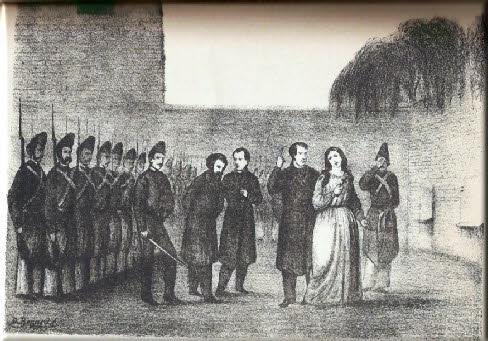 Camila y Ladislao siendo trasladados al paredón.  Fueron enterrados en una fosa común pero sus cuerpos nunca fueron encontrados.