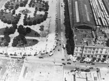 Vista aerea de Plaza Miserere y la Estación Once de Septiembre del FFCC Sarmientio