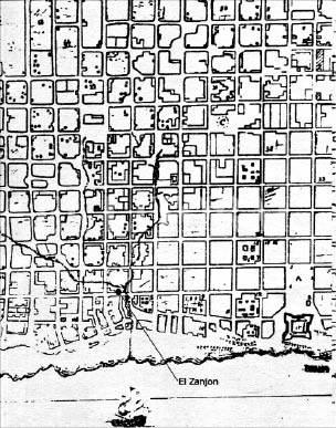 Antigua mapa donde se ve el Zanjón de Granados, delimitando la ciudad fundada por Juan de Garay