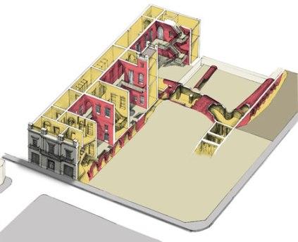 Mapa de la casa, donde se pueden apreciar los túneles