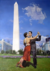 Jose Cirigliano TANGO JUNTO AL OBELISCO oil on canvas 70 x 50 cm.
