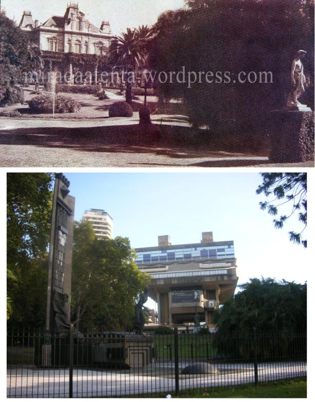 Fotografía del parque y la fachada norte de la residencia acompañada de una fotografía tomada desde el mismo ángulo en la actualidad: