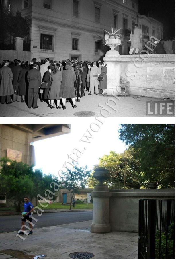 Imágen de la gente concentrada frente al ingreso de la residencia presidencial sobre la calle Agüero, tomada por un fotógrafo de la revista LIFE la noche del 26 de julio de 1952. Debajo de ésta, una fotografía tomada desde el mismo ángulo en la actualidad. Observen que todavía se conservan los copones de la escalinata e inclusive la tapa del desagüe ubicada en el sector inferior de ambas fotografías: